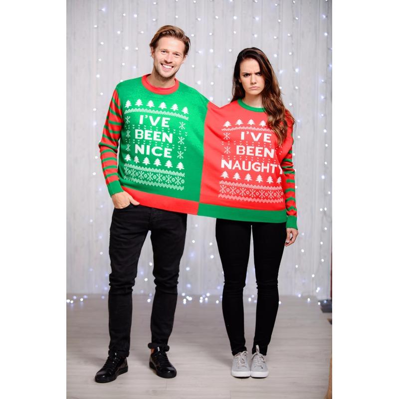 Grote Maten Foute Kersttrui.Foute Kersttrui Voor Twee Personen Met Grappige Tekst Voor Maar